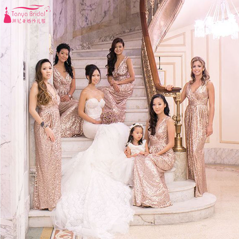 Gorgeous Rose Gold Sequined Bridesmaid Dress V Neck Ruffles Long Gowns Brides Maid Dresses