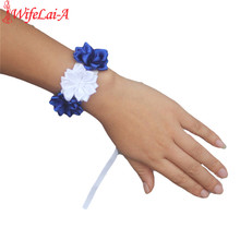 Royal Blue White Wrist Hand Flowers Diamond Satin Rose Flowers for Wedding Bride Wrist Flowers Boutonniere for Wedding SW0678(China)