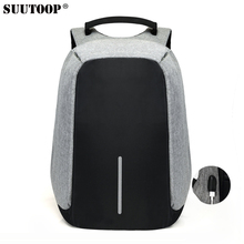 suutoop usb charge anti thief backpack men business travel security waterproof leisure teenage male 15inch laptop anti-thief bag(China)