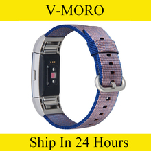 V-MORO Soft Woven Nylon Watch Band with Metal Connector Sport Strap for Fitbit Charge 2 HR Fitness Tracker