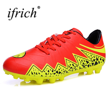 Ifrich Men Kids Outdoor Soccer Shoes Leather Football Sneakers Black Silver Sport Soccer Shoes Children Boys Football Cleats