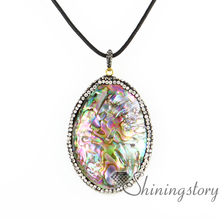 oval mother of pearl pendants rainbow abalone necklaces jewelry sea shell necklaces white oyster shell rainbow abalone shell