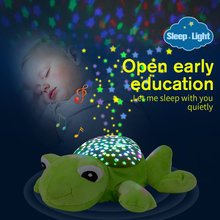 LED Night Light Luminous Plush Toy Baby Stuffed Plush Animals Toys W/ Music Star Lamp Projector Sleeping Toys For Girls Children(China)