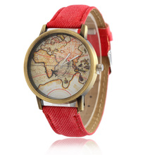 2016 New women leather world map watch fashion plane Rotary printing ladies cowboy dress quartz wrist watches for women ladies