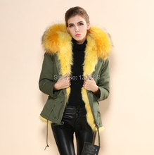 2017 Warm Winter Army Green Parka Fur Coat,Real Fox Fur Large Raccoon Collar Coat Women,Mrs furs cheap China supplier