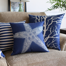 Southeast Asia Home Decorative Linen Cushion Cover Blue classic Geometry Marine plants Pillow Case Sofa Chair Waist Pillow cover