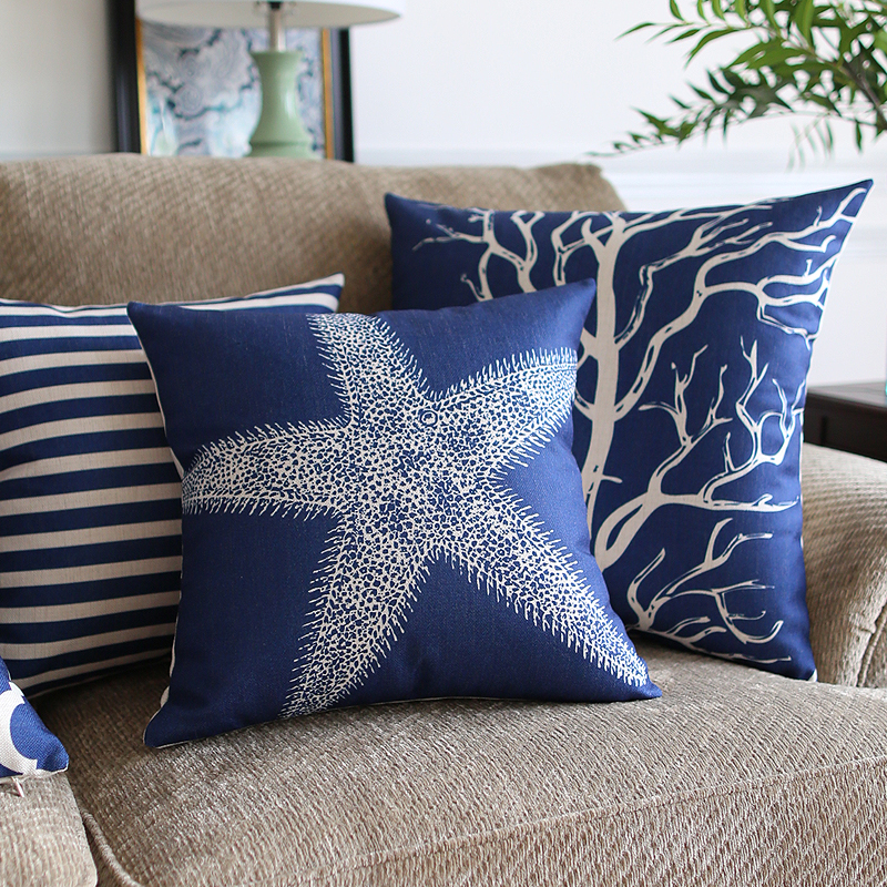 Southeast Asia Home Decorative Linen Cushion Cover Blue classic Geometry Marine plants Pillow Case Sofa Chair Waist Pillow cover(China)