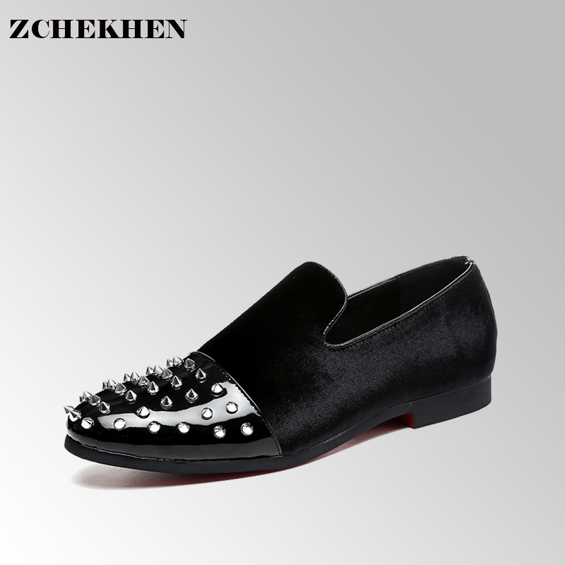 2017 Euro style Black Patent leather men loafers with Black rivet toe Fashion Party dress men flats business shoes #54<br>