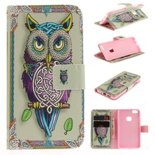 P10 Lite flip leather case For huawei P10 Lite cover cards slot painted owl lover flower smart phone cellular fundas coque bag