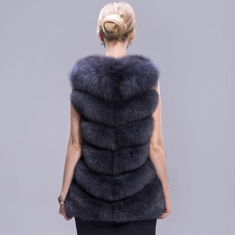 fox fur vest 6 lines dark grey 1
