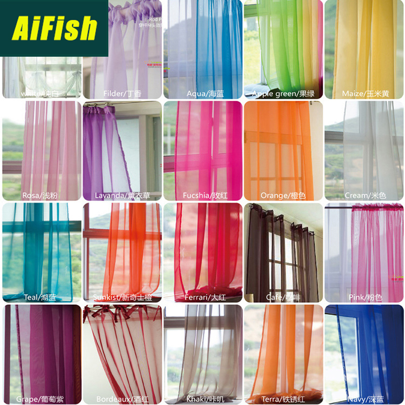 Tulle Curtains Drape-Panel Window-Screening Sheers Living-Room American-Style European title=