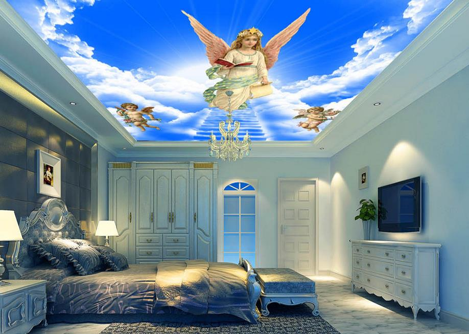 3d ceiling wallpaper custom 3D Star Dream Angels down to earth suspended ceiling frescoes non-woven wallpaper mural ceiling(China (Mainland))
