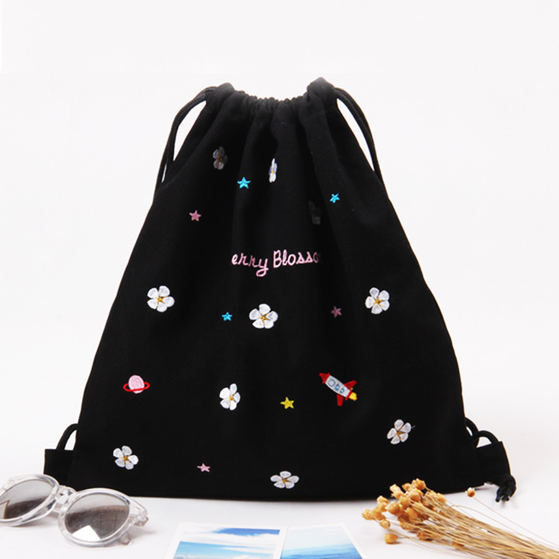 Embroidery Cotton Canvas Bagpack Women Cute Drawstring Backpack for Book Clothes Shoping Travel Drawstring Bag More Style<br><br>Aliexpress