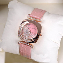 Fashion  Rose Gold Case Bling Crystal White Dial Square Face Leather Band Analog Quartz Dress Women Casual Watch / WK1191