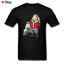 Vespa Rabbit For Men T Shirt Custom Short Sleeve New Style Popular Homme Guy Tee Shirt O-neck  Big Size 3d T-Shirt