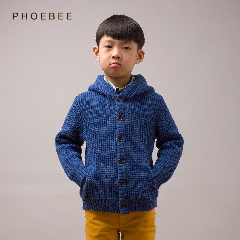 kids boys cardigan sweaters  2-8 years wool boys cardigan Warm kids knitted boy sweater coat blue khaki Cardigan pockets hat<br>