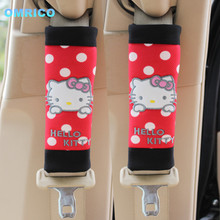 Cartoon Hello Kitty Seat Belt Cover PP Cotton Safty Belt Covers For Kids Red Safety Seat Belt Shoulder Pads Car Accessories(China)