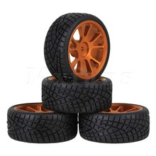Mxfans 4 x 1:10 On-Road Car Rubber Tires and Aluminum Alloy 10 Spokes Gold Wheels Rims