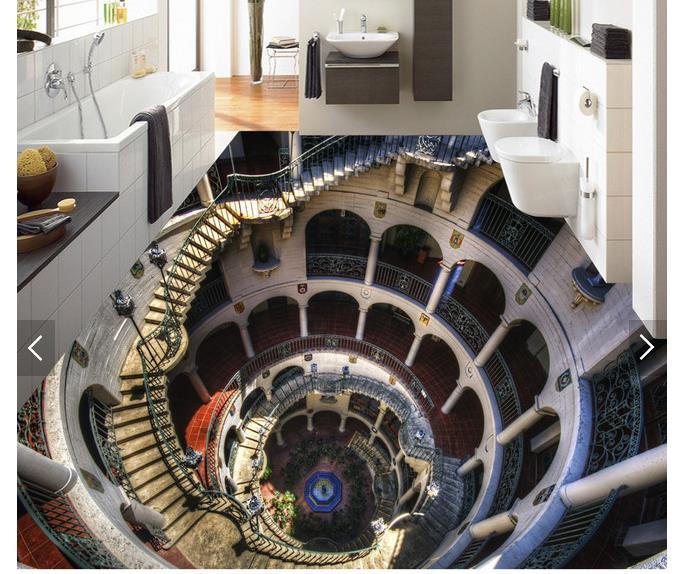 3D wallpaper customized 3D pvc floor painting wall paper 3 d floor painting murals sitting bathroom floor living room wallpaper<br>