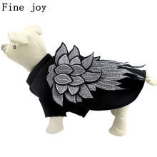 Fine joy Cute Embroidery Wings Pet Clothes Cool Luxury Dog Coat Punk Puppy Cat Clothes Dog Costume Spring/Autumn Coat& Jackets(China)