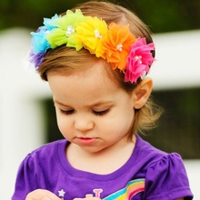 Rainbow color flowers headband Children baby girls hair accessories  Infant Toddler headwear bow 1pc HB539