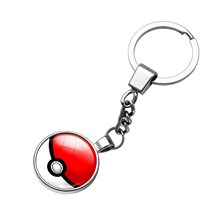 1 Pcs Double Side Glass Cabochon Pokemon Ball Pendant Keychain Anime Action Figures Toys PokeBall Super Master Ball Kids Gift(China)