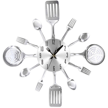 Metal Knife Fork Home Office Wall Mount Analog Clock Stainless Steel Knife And Fork Spoon Kitchen Restaurant Wall Clock(China)
