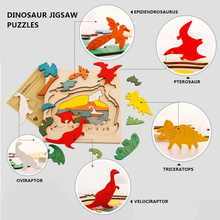 3D Wooden Dinosaur Jigsaw Puzzle Multilayer Animals First Easy Educational Toy