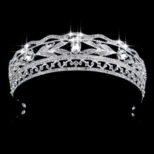 Top Crystal Whit K Plated Bridal Jewelry Crown Tiara Prom Brides Headband Wedding Hair Accessories For Bridal Hair Jewelry(China)