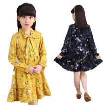 2017 new flower Girl Dress Chiffon Girls Dresses Casual Kids Autumn Spring Clothing long sleeve