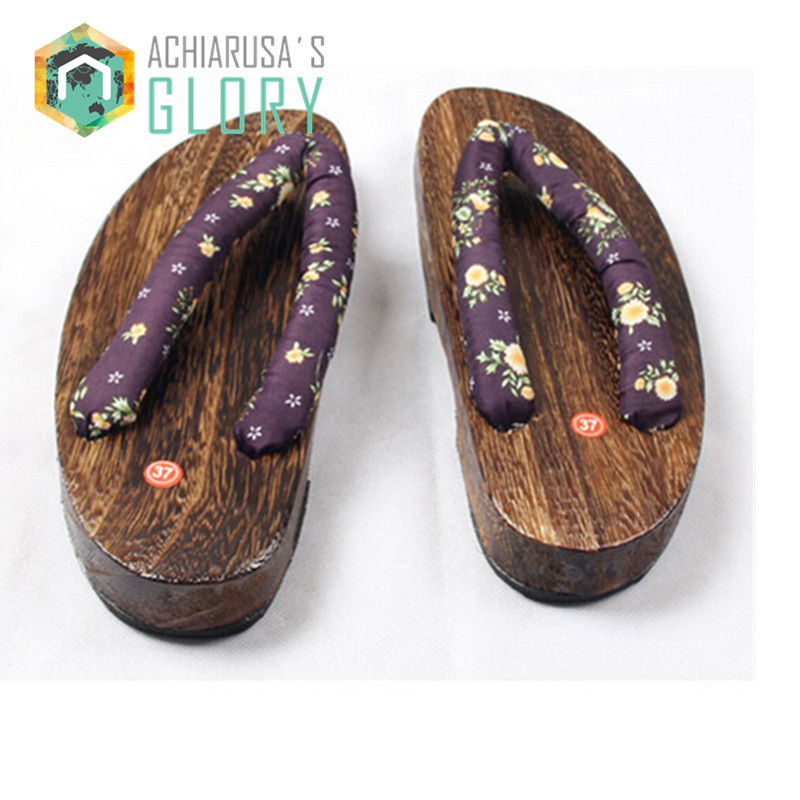 Women sandals heel Flip-flops 2017 summer Japanese Geta wooden Clogs shoes female slippers Cosplay costumes shoes WMGE-231<br><br>Aliexpress