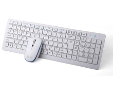 E320 2.4GHz Wireless Super Slim White Multimedia English Chocolate Keyboard Mouse Combo Set for PC Desktop Laptop