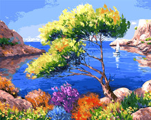 Seascape Blue sea and sky digital the paintings no frame home decoration oil painting picture coloring by numbers wall art decor(China)