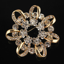 Crazy Feng New Fashion Hot Sale Garland Austrian Crystal Flower Brooch Pin Jewelry For Women Free Shipping(China)