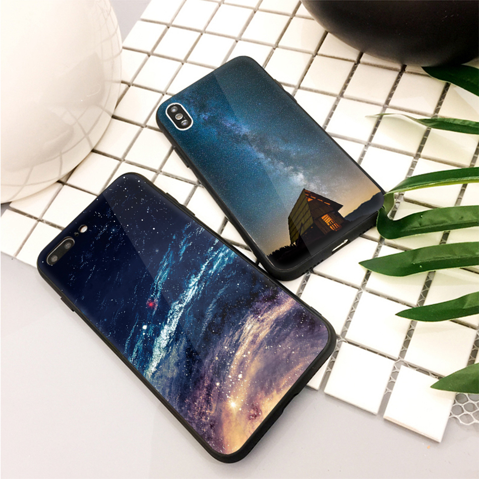 TOMKAS Star Sky Pattern Glass Case For iPhone X 7 8 6 6 s Cover Phone Cases For iPhone 7 8 6 6s Plus X Case Silione TPU PC Coque (19)