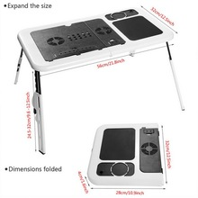 HOMDOX Laptop Stand New Portable Folding Adjustable Bed Notebook Table Desk with 2 Cooling Fans + Mouse Pad