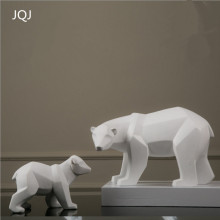 JQJ American Village White Resin Polar Bear Sculpture Figurine Crafts Creative Home Desk Decoration Resin Animal Statue Gift(China)