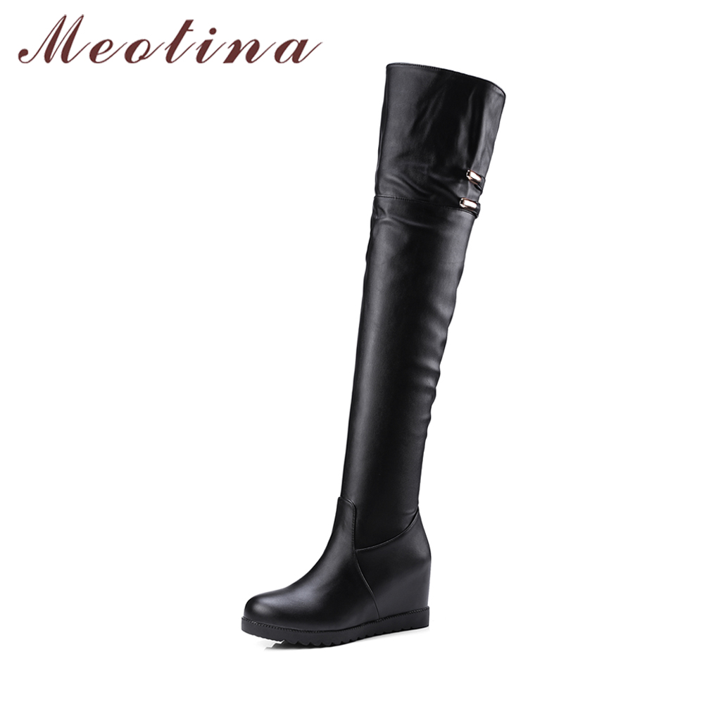 Meotina Winter Over the Knee Boots Hidden Heels Wedges Thigh High Boots Buckle Women Long Boots Black Female Autumn Shoes 34-43<br>