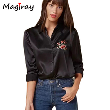 Embroidery Satin Shirt Women Long Sleeve Blouse Femme Camisas Mujer 2017 Summer Floral Blusas Tops Ladies Office Shirts C108(China)