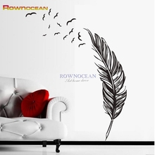 Flying Feather Living Room Wall Sticker Home Decor DIY House Decor Removable Wall Decals Vinyl Art American Indian D529(China)