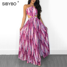Buy SIBYBO Halter Lace Maxi Long Dress Women 2018 Summer Backless Split Boho Beach Dresses Vestidos Shoulder Sexy Party Dress