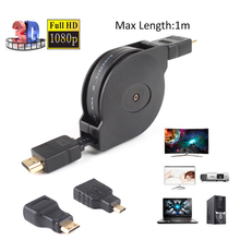 3 in 1 Retractable Flat HDMI Cable To Mini/Micro HDMI Adapter Cable For Mobile Phone Computer TV Gameplay 1M #255533(China)