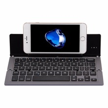 Brand New F18 Ultra-slim Rechargeable Foldable 58 Keys Bluetooth Wireless Keyboard with Holder for Smartphone or Tablet