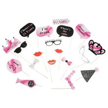 21pcs/Set Stick 21th Birthday Photo Booth Props Funny Moustache Glasses Baby Kids Favors Birth Party Decoration Supplies(China)