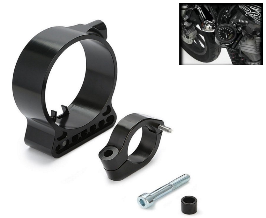 39mm/16 Side Mount Speedo Relocation Bracket For Harley Sportster Black Anodize<br>