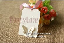 60pcs Name card pearl paper wish card decoration place cards Wedding butterfly Kraft Paper Hang Tag For Gifts Crafts Price Tags