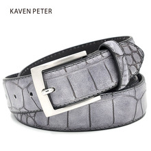 Mens Fashion Waist Belts Faux Crocodile Pattern Belts With Split Leather Luxury Crocodile Belt Men Designer Accessories Belts(China)