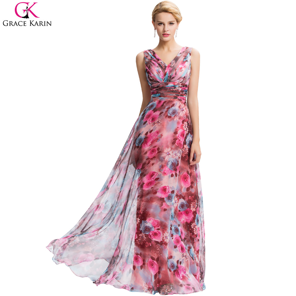 Grace Karin Dresses 2016 New Floral Print Evening Dresses Long 2016 V Neck  Chiffon Party Gowns 5bcd88d71a52