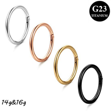 Showlove-G23 Titanium Hinged Stepum Clicker Nose Hoop Rings 14g&16G Lip Nipple Tragus Cartilage Ring Piercing 6mm&8mm&10mm