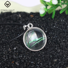 Hot FOMALHAUT Crystal glass Ball Bamboo grass Long Strip Leather Chain Dried flower Pendant Necklace Women 2016 Jewelry XX19